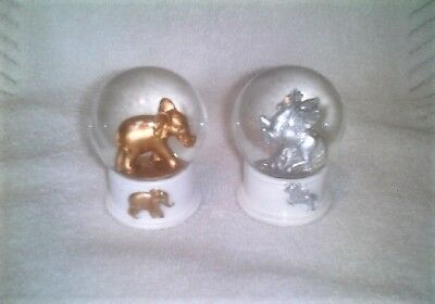 "Set Of 2 Decorative 3"" Mini Glitter Snow Globes - Silver Unicorn & Gold Elephant"