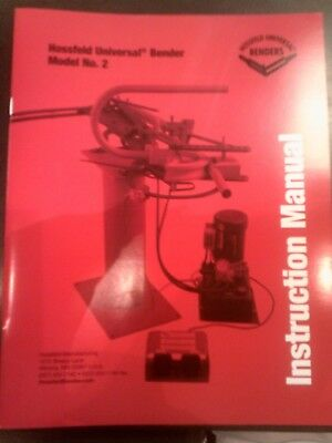 #2 Hossfeld Bender Instruction Owners Manual Universal Pipe Tube Tubing Die NO 2