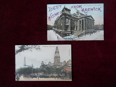 2 Vintage Glitter Postcards, The Exchange, Manchester, Cambridge Hall, Southport