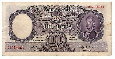 ARGENTINA NOTE 1950 1000 PESOS L. 12155 Red series A P#269b - B#2131 VF