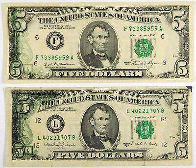1981 & 1988A $5 Federal Reserve Note Errors - Back to Front Offset Printing
