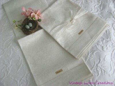 ELEGANT AnTiQuE Creamy FLORAL DAMASK Bath GERMAN LINEN Guest TOWEL ~ 2 available