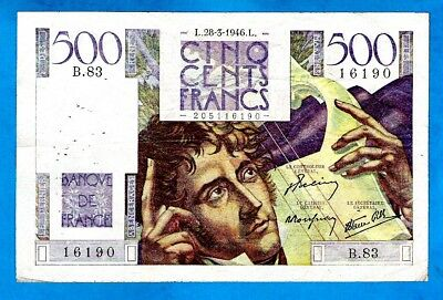 "France P129a 500 Francs "" CHATEAUBRIAND "" Sign Bellin/Rousseau/Gilly 28.3.46 aXF"