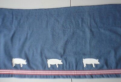 Pig Pigs Valance blue denim w/ white pigs and red striped ribbon sample sale