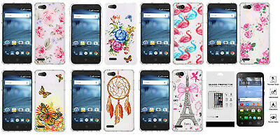 FOR ZTE ZFIVE G C Z557BL Z558VL Slim Shock Case Phone Cover + Tempered Glass