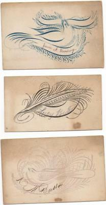 3 Victorian Calling Cards Original Hand Drawn Calligraphy c1880