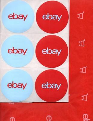 5464* EBAY Branded Shipping Supplies ~ 24 Sheets RED TISSUE PAPER + 12 STICKERS