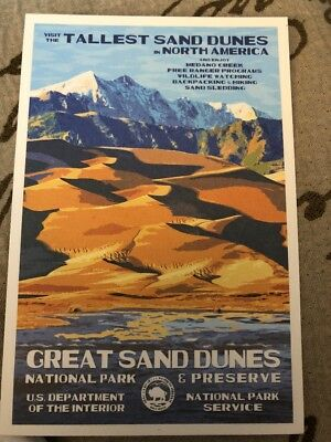 Great Sand Dunes  National Park WPA Style Art Postcard