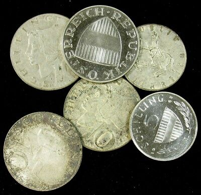 Lot of 6 Austria Silver Coins 1957-1965 - 2 Proof
