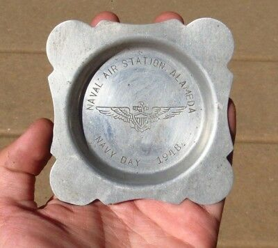 WW2 USN US Naval Air Station Alameda Souvenir Aluminum Coin Ash Tray