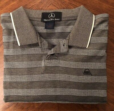 Men's Mercedes Benz Car Striped Gray Short Sleeve Polo Shirt Size Large L