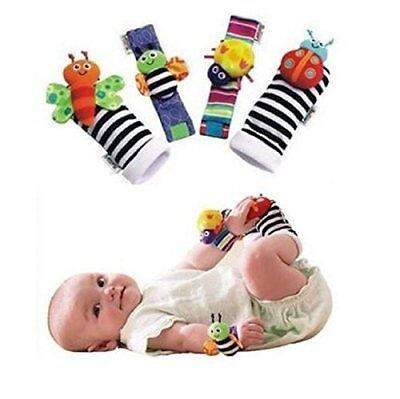 4 PCS Baby Wrist Rattle and Foot Rattles Finder Socks Set Bee and Ladybug