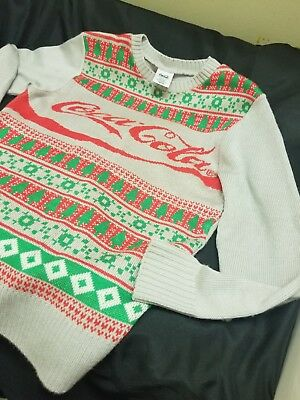 Coca Cola Ugly Christmas Gray Green Red White Acrylic Sweater Size M A008