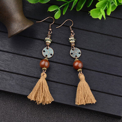 Vintage Women Fashion Bohemian Long Tassel Ear Drop Dangle Ethnic Retro Earrings