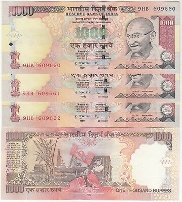 Set Of 3 Consecutive 1000 Rupees Gandhi Issue Old Series R.b.i. Bank Note In Unc