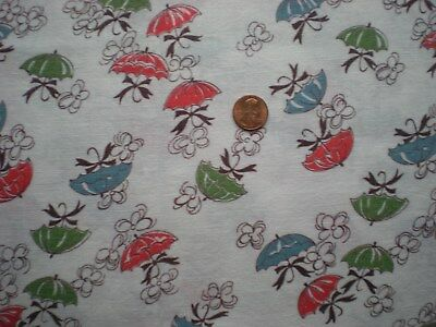 NOVELTY UMBRELLAS Full Vtg FEEDSACK Quilt Sewing DollClothes Craft Cotton Fabric