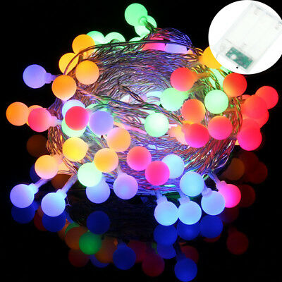 LED Ball Bulb String Fairy Lights Battery Powered Party Xmas Wedding Decor Lamp