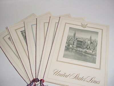 SS UNITED STATES LINES  Set of (6) Different Menu Covers w/Tassles  /  Top Cond.