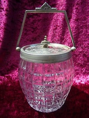 Antique Edwardian Silver Plate and Crystal Biscuit Barrel Canister