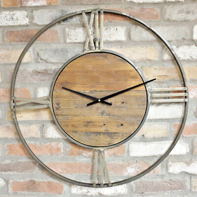 Large Round Vintage Wall Clock Gold Metal Frame Roman Numerals Analogue Quartz