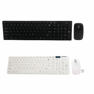 Slim 2.4GHz Wireless Keyboard and Cordless Mouse Combo Set Black/White