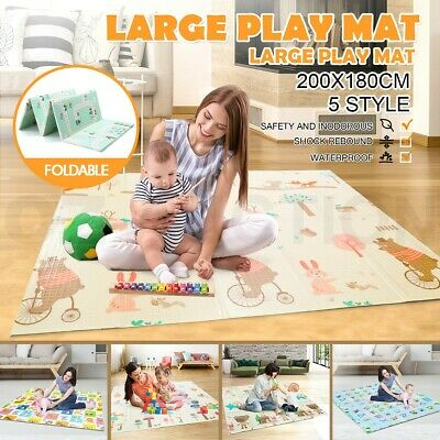Foldable ABST 200X180CM Baby Kids Play Mat Crawling Picnic Alphabet Floor Rug
