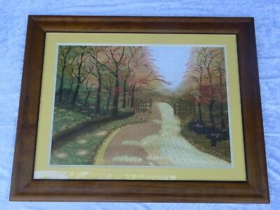 Vintage Large Hand Worked Framed Embroidery Picture