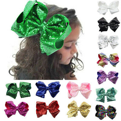 18 Colors 8 inch Large Hair Bows Sequin Alligator Clips Headwear For Kids Girls