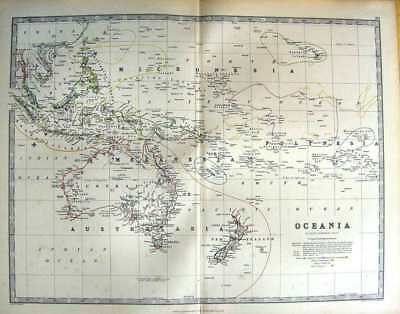 Original Old Antique Print Johnston Map 1888 Oceania Australia New Zealand 19th