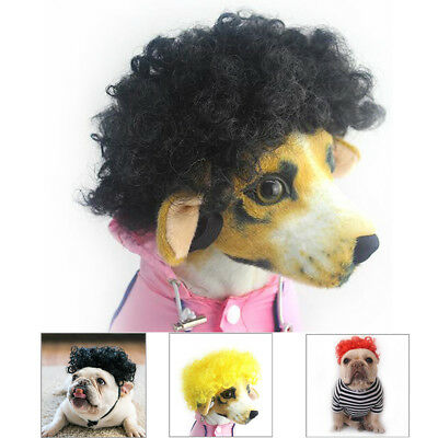 Afro Pet Wig Clown Circus Curly Halloween Pet Dog Cat Costume Accessory Funny UK