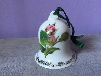 PORTMEIRION POTTERY Bone China Bell A ROSE FOR THE NEW MILLENIUM