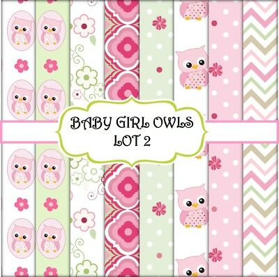 BABY GIRL OWLS - LOT 2 SCRAPBOOK PAPER - 8 x A4 pages