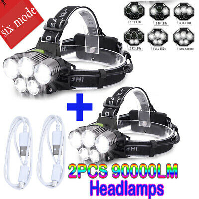 90000LM Headlamp T6 LED Rechargeable Headlight Light Flashlight Head Torch Lamps