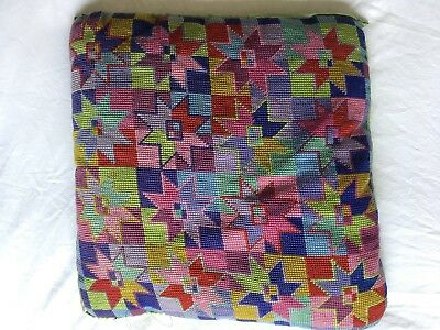 RARE VINTAGE RETRO Needlepoint EHRMAN Lovely Design Tapestry Cushion Completed