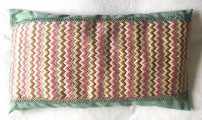 Lovely Green/ Pink VINTAGE  Retro Completed CUSHION COVER Tapestry Needlepoint