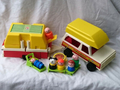 Fisher Price 1979  FP 992 Little People Jeep Camper Camping Boot Figuren Zubehör