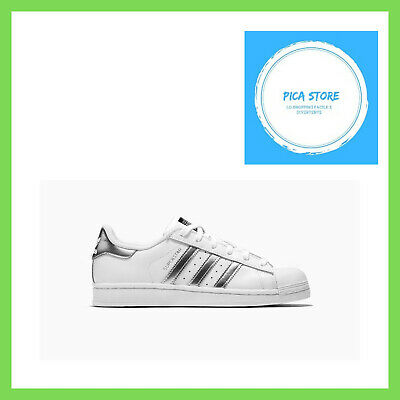 15a91d7280864 Adidas Originals Superstar White Silver Womens Classic Shoes Sneakers AQ3091