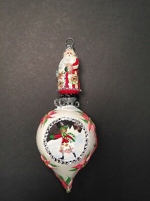 Patricia Breen bejeweled ornament SANTA ON SKATES Poinsettias INDENTED