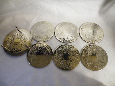 Vintage Silver Plated Drinks Coasters 6 & Stand