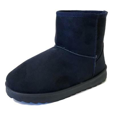 Womens Girls Winter Warm Suede Ankle Boots Flat Snow Fur Lined Comfy Shoes Size