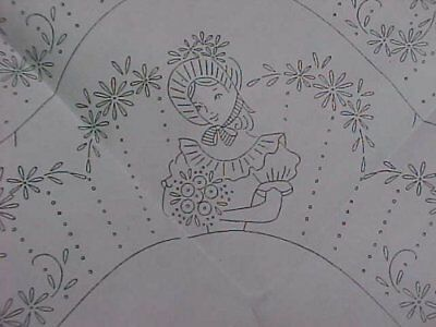 Vintage Southern Belle Transfer Pillowcases PATTERN Embroidered Crinoline Lady