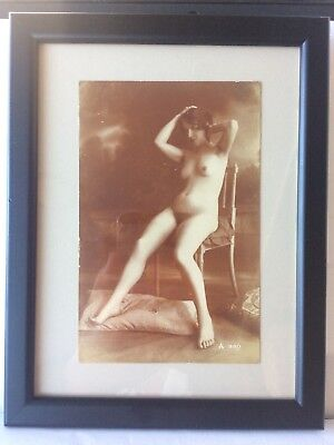 Original French Postcard In A Glazed Picture Frame Explicit Nude Female Postcard