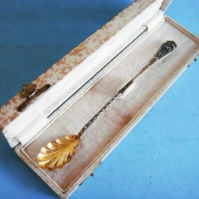 Beautiful Antique Sterling SILVER Ornate Flowers Ice Tea Straw Spoon in Case!
