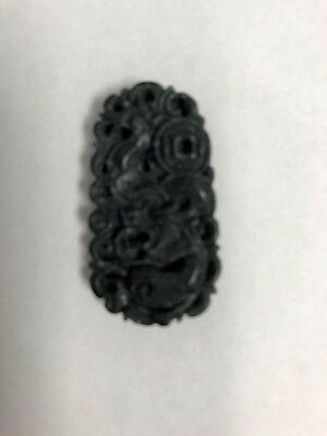Pure Natural Hand-carved Chinese Jade Pendant-Black Dragon
