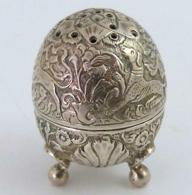 Antique Persian Silver Egg-Shaped Pepperette, 19Th Century