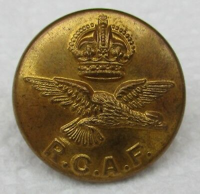 """Rare WW2:""""ROYAL CANADIAN AIR FORCE BRASS BUTTON"""" (Large 24mm, J R Gaunt, RCAF)"""