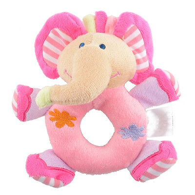 Baby Infant Kids Cute Soft Pink Elephant Plush Rattle Educational Toys Striking