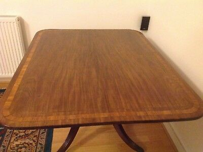 Antique 19th century mahogany and rosewood banded snap top supper table