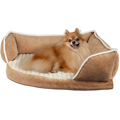 Corner Pet Bed for Dogs & Cats - Deluxe Self Warming Foam Cushion Lounger Pad