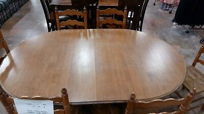 Vintage Tell City #2312 SIX Ladder Chairs and Jefferson Wood Table, 2 leaves
